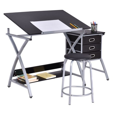 Costway Drafting Table Art   Craft Drawing Desk Art Hobby Folding Adjustable W  Stool