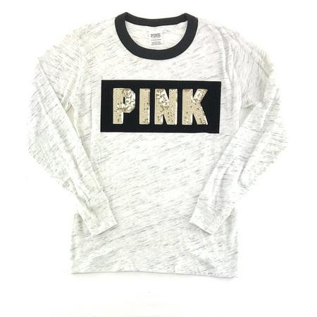69ce162f9b6d Victoria s Secret - Victoria s Secret PINK Bling Velvet Long Sleeve Ringer  T-shirt - Walmart.com