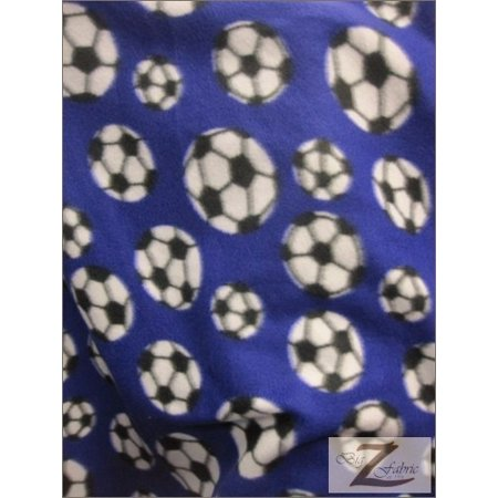 Fleece Printed Fabric Sports Soccer / Purple / Sold By The Yard](Soccer Ball Fabric)