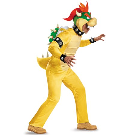 Super Mario: Deluxe Bowser Men's Adult Halloween Costume, XL