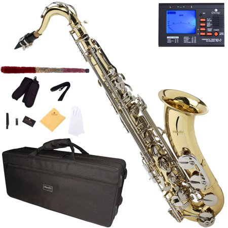 Tv Tenor Saxophone - Mendini by Cecilio Bb Tenor Saxophone with Tuner, 10 Reeds, Mouthpiece and Case, MTS-LN Gold Lacquer with Nickel Keys