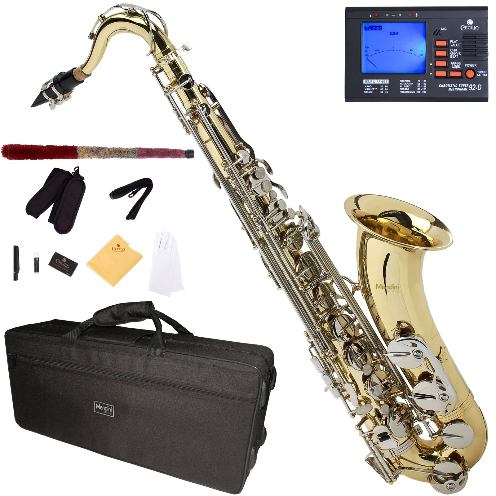 Mendini by Cecilio Bb Tenor Saxophone with Tuner, 10 Reeds, Mouthpiece and Case, MTS-LN Gold Lacquer with Nickel Keys