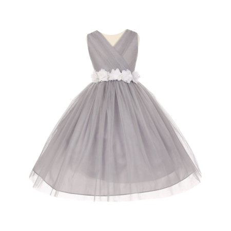 Little Girls Silver White Chiffon Floral Sash Tulle Flower Girl Dress 4 - Girls Silver Dresses