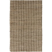 3.25' x 5.25' Pleasantly Striped Brown and Ivory Hand Woven Jute Area Throw Rug