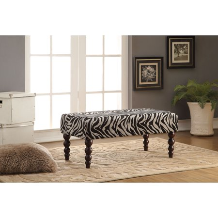 Bench, Zebra Fabric - Rubber Wood, Fabric, Zebra Fabric