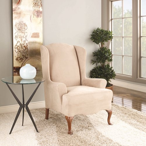 Sure Fit Suede Wing Chair Stretchable Slipcover