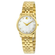 Movado Museum Classic White Mother Of Pearl Set with Diamonds Dial Ladies Watch 0606998