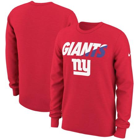 New York Giants Nike Wedge Performance Long Sleeve T-Shirt - Red (Nike Pro Combat Shirts Hypercool)