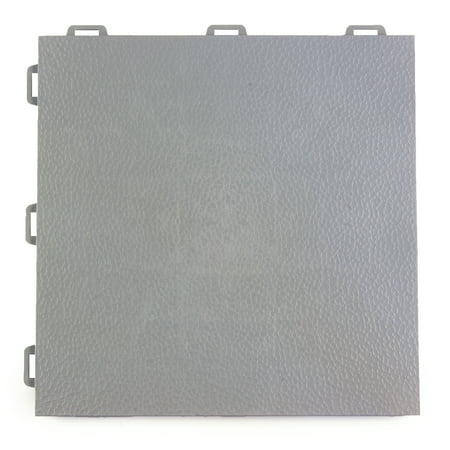 Greatmats PVC Plastic Interlocking Basement Floor Tile 12 in. x 12 in. x 0.56 in. StayLock Orange Peel Top-Gray 26 Pack
