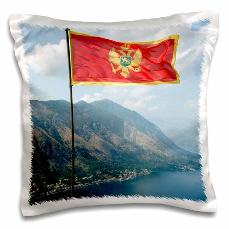 3dRose Flag with fjord in background, Kotor, Montenegro - EU47 PRI0001 - Prisma, Pillow Case, 16 by 16-inch