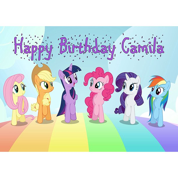 Groovy My Little Pony Personalized Cake Topper Icing Sugar Paper A4 Sheet Personalised Birthday Cards Beptaeletsinfo