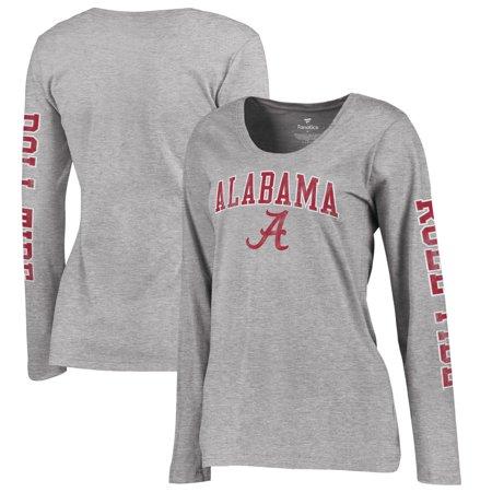 Alabama Crimson Tide Fanatics Branded Women's Alternate 1 Distressed Arch Over Logo Long Sleeve Hit T-Shirt - Gray (Alabama Crimson Tide Silver Auto)