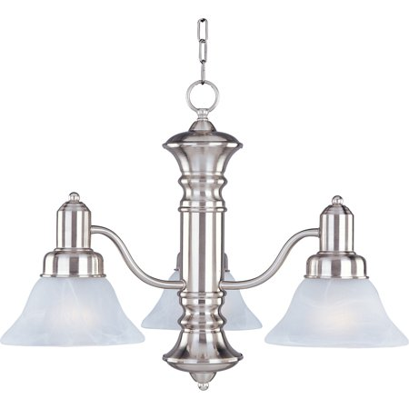 Marble Pressed Glass (Maxim Lighting Newburg - Three Light Chandelier, Satin Nickel Finish - Marble Glass)