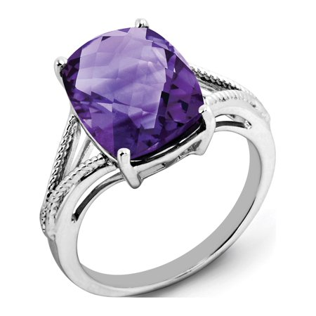 Sterling Silver Rhodium-plated Checker-Cut Amethyst Ring - image 2 of 2