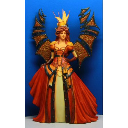 Red Dress Steampunk Fashioned Winged Fairy Queen Statue Figurine