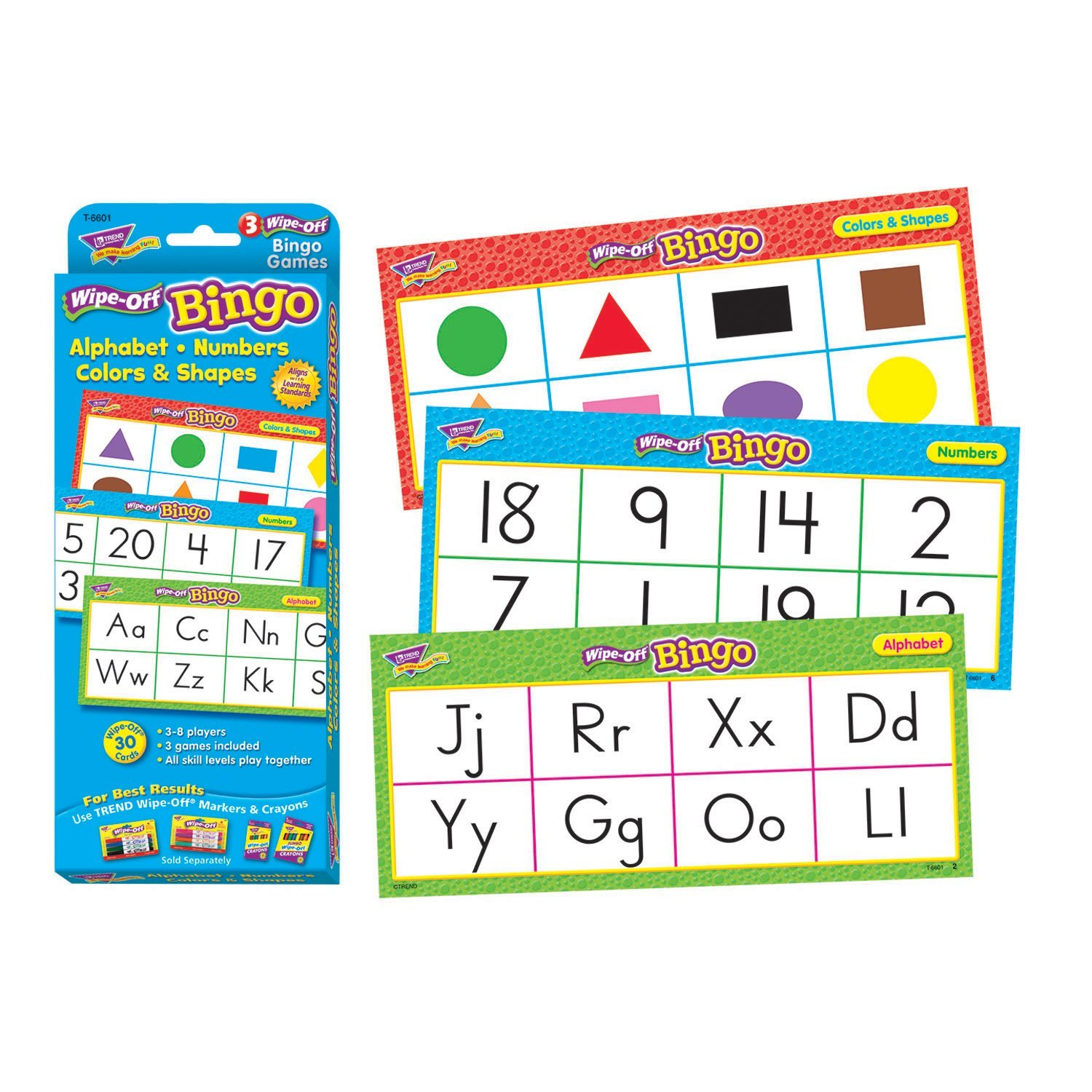 Trend Enterprises Alphabet, Numbers, Colors & Shapes Wipe-Off Bingo Game (28 Piece), de Pre Difficulty Activity Math Matching Third Spanish from Homophones Shapes Pack.., By Trend Enterprises Inc