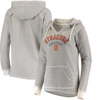 Syracuse Orange Blue 84 Women's Striped French Terry V-Neck Pullover Hoodie - Cream