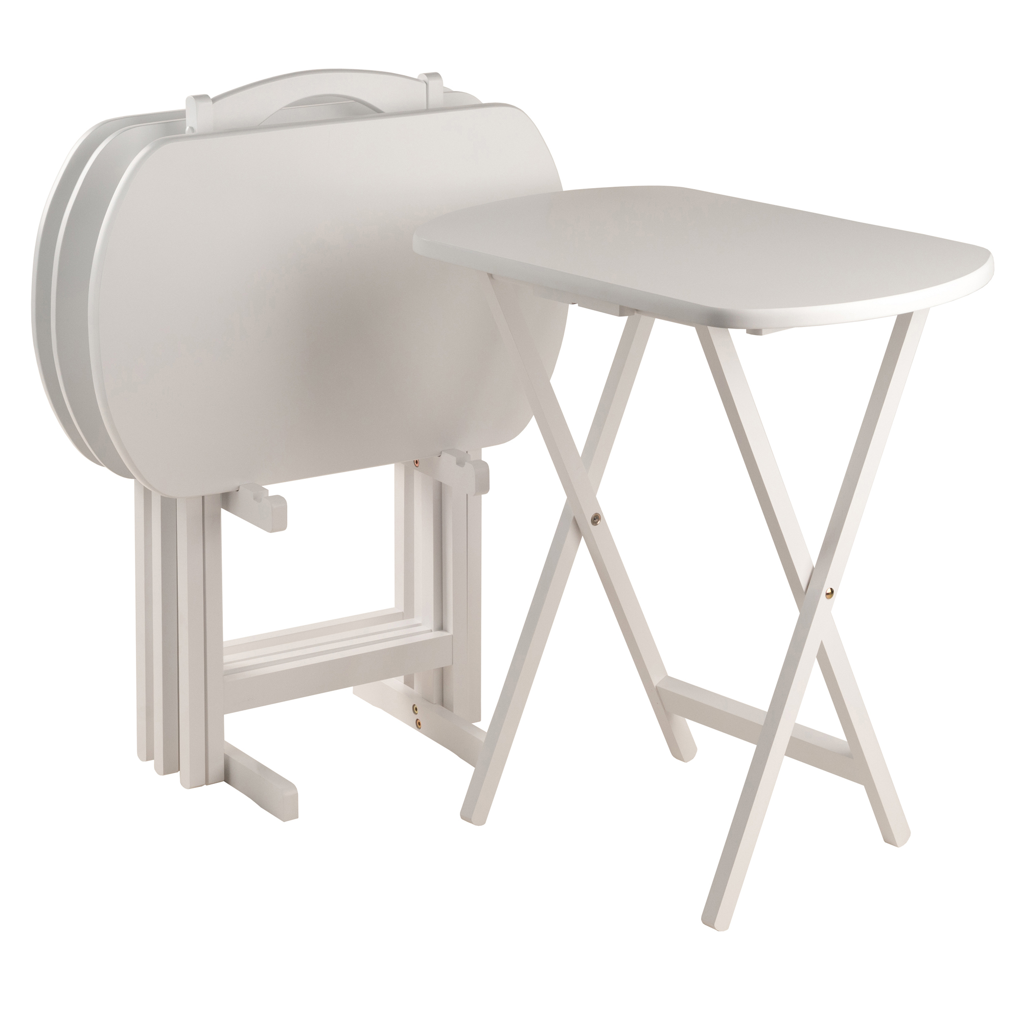 Winsome Corbette Wood 5 Piece Over Sized Folding TV Tray Table Set, White