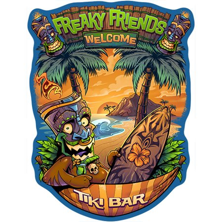 Freaky Friends Tiki Bar [3 Pack] of Vinyl Decal Stickers | 5
