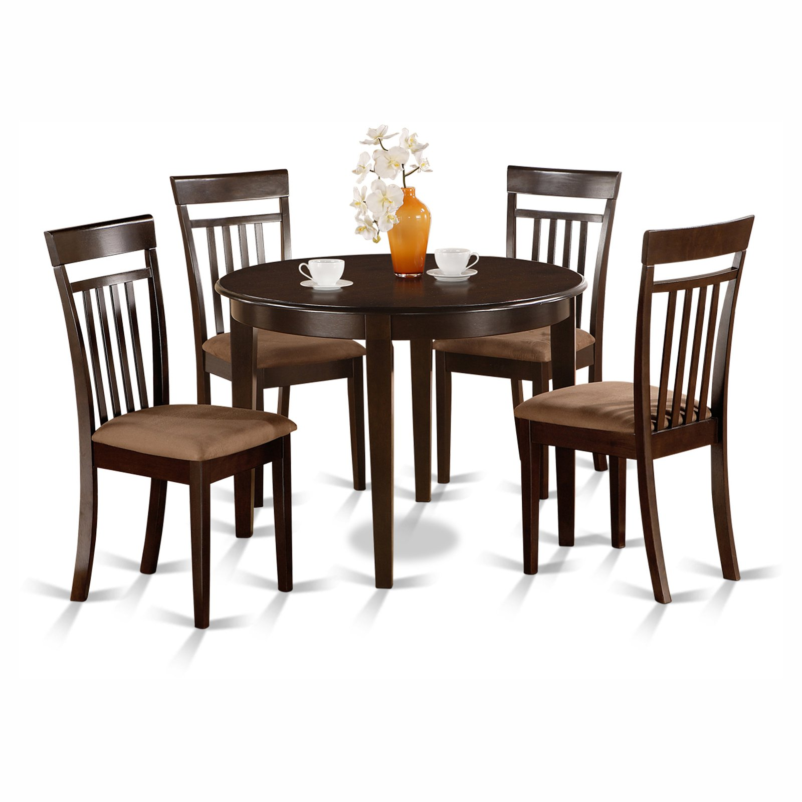 East West Furniture Boston 5 Piece Round Dining Table Set with Capris Microfiber Seat Chairs