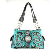 Accessories Plus BHB-893 TQ Handbag with Inlay Design, Turquoise