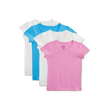 Toddler Girls' 100% Cotton T Shirts, 4 Pack