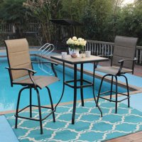 MF Studio Swivel Bar Stools Set 3 PC Outdoor Kitchen Bar Height Patio Bistro Set Padded Sling Fabric, All-Weather Patio Furniture