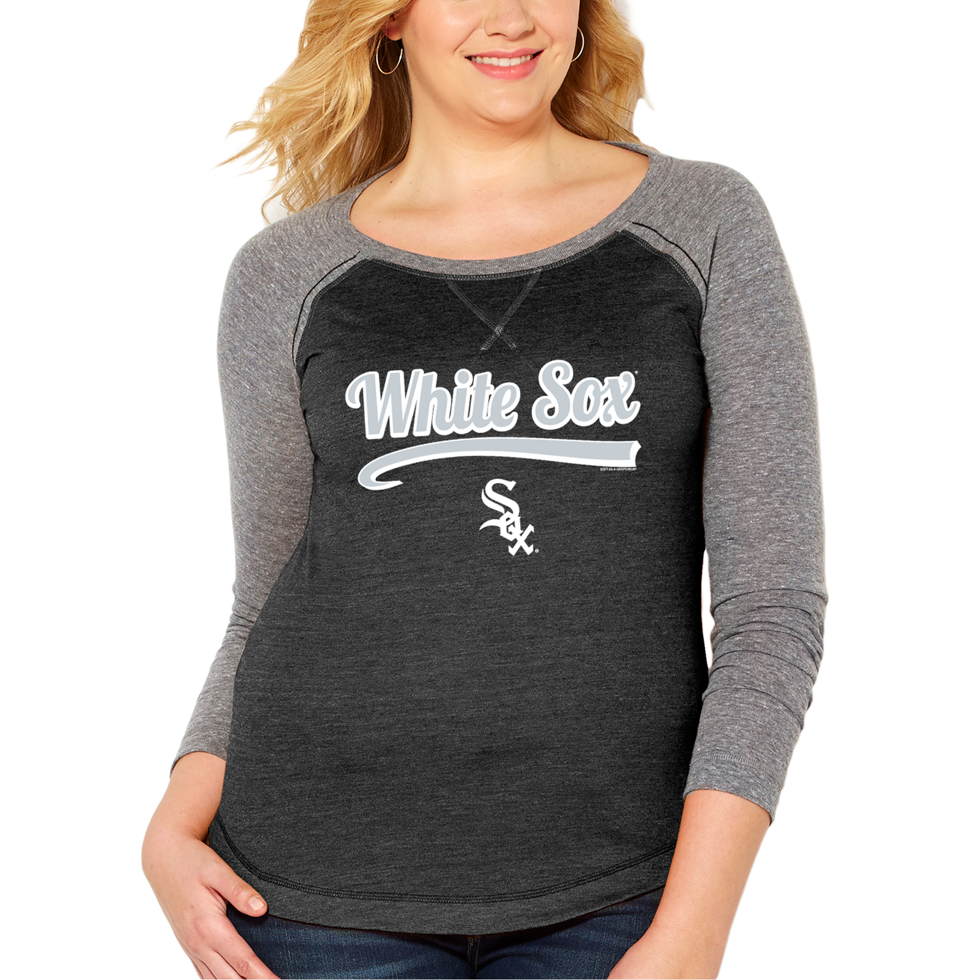 Chicago White Sox Soft as a Grape Women's Plus Size Long Sleeve Raglan T-Shirt - Heather Black