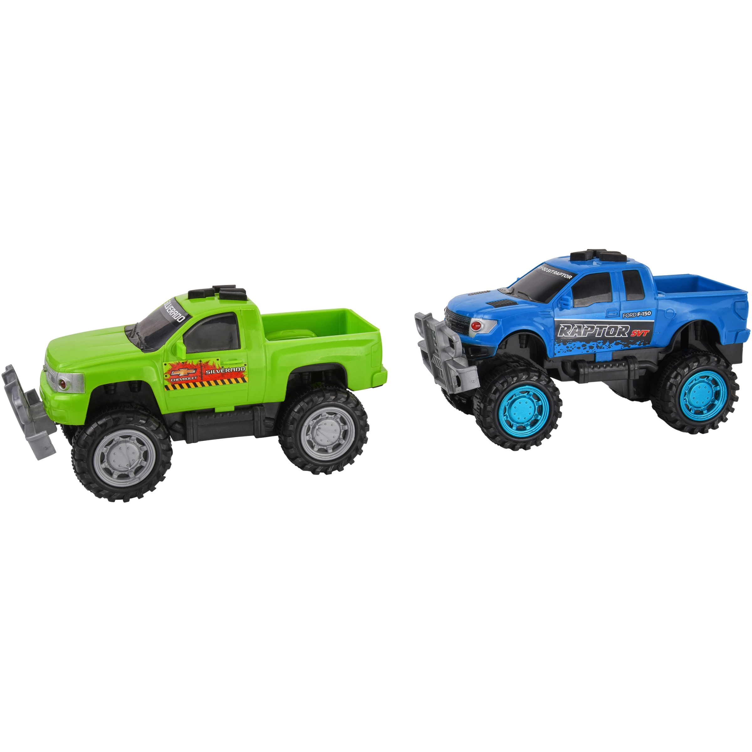 Kid Connection Friction Powered Fast Trucks 2-Pack, Blue & Green
