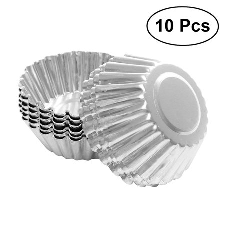Tinned Steel Fluted Tartlet Mold - 10pcs Nonstick Ripple Aluminum Alloy Egg Tart Mold Flower Shape Reusable Cupcake and Muffin Baking Cup Tartlets Pans