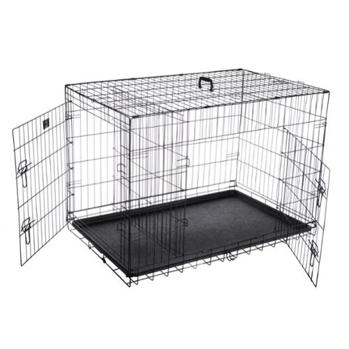 "Pet Trex 42"" Folding Pet Crate Double Door Kennel Wire Cage for Dogs, Cats or Rabbits"