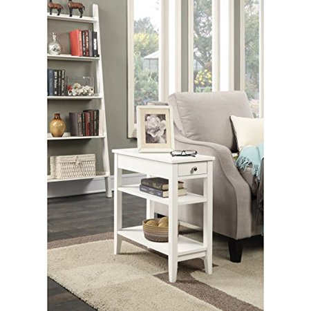 Modern Transitional Wood 3 Tier Accent End Side Table with 1 Drawer - Includes Modhaus Living Pen (White) ()