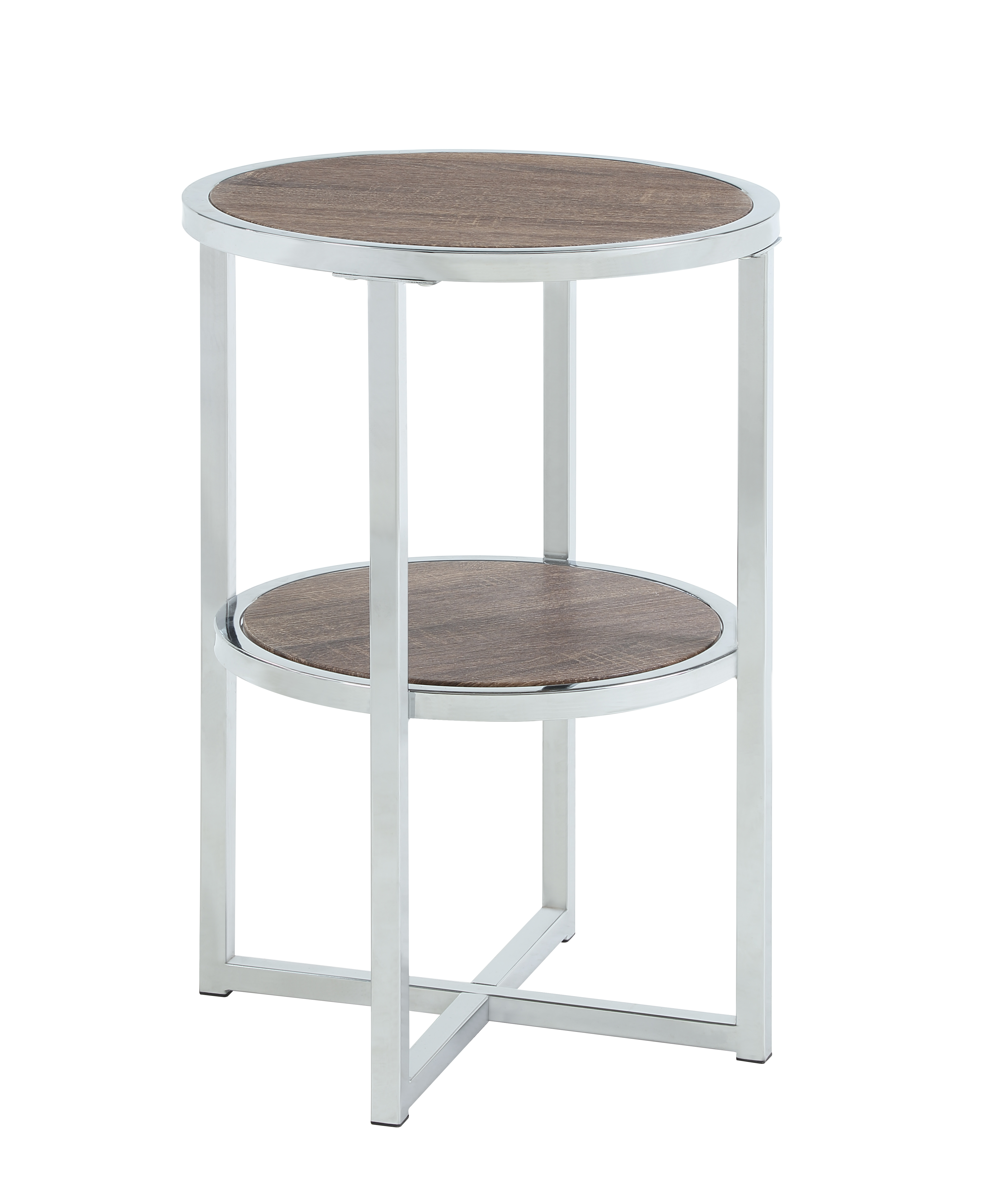 Picture of: Abington Lane Contemporary Round End Table Two Tiered For Storage Brown Finish Walmart Com Walmart Com