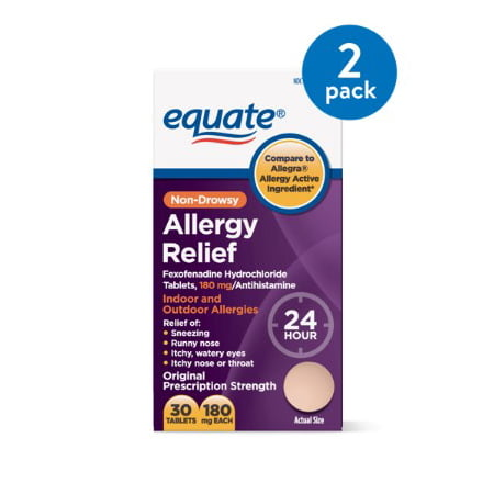 (2 Pack) Equate Allergy Relief Fexofenadine Tablets, 180 mg, 30 Ct