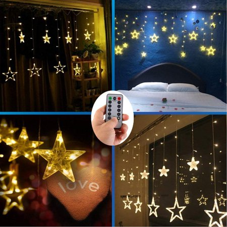 4 x AA Batteries Operated Curtain Lights with Remote,138 LED 12 Star Window Wall Icicle String Lights,8 Mode,Timer,Dimmable,Ideal for Outdoor Wedding Birthday Bar Camping Barbecue Party Decoration ()