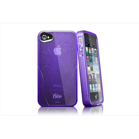 - iSkin CLGLM4-PE2 Claro Glam Flexible Case With Sparkle For Iphone4-4S, Purple