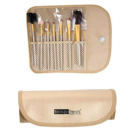 Brand New Cosmetics 7 Pc Makeup Brush Sets Brush Kits Gold Color Pouches ( Cos138