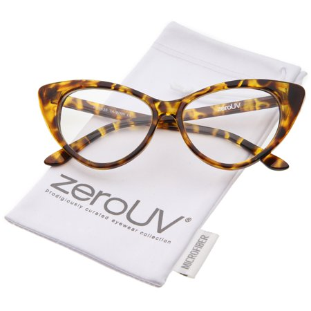 zeroUV - Retro High Sitting Temples Clear Lens Exaggerated Cat Eye Glasses 55mm - 55mm Add a 50's inspired touch to your look with these cat eye glasses featuring an exaggerated high point silhouette and teardrop-shaped clear lenses. Accented with stylishly high sitting temples, these bold and retro eyeglasses are the perfect combination of chic and sophisticated. Made with a plastic based frame, metal hinges, and polycarbonate UV400 clear lenses.