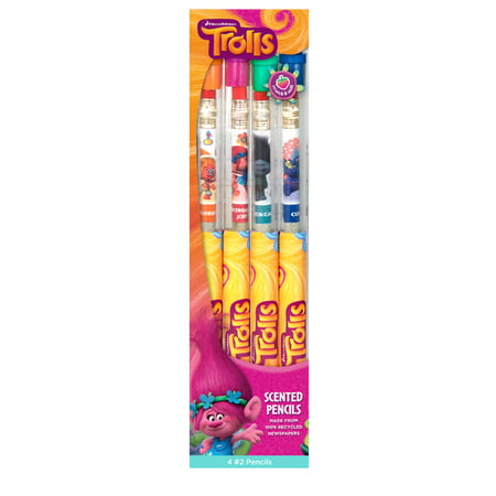 dreamworks trolls smencils 4 pack of hb 2 gourmet scented pencils