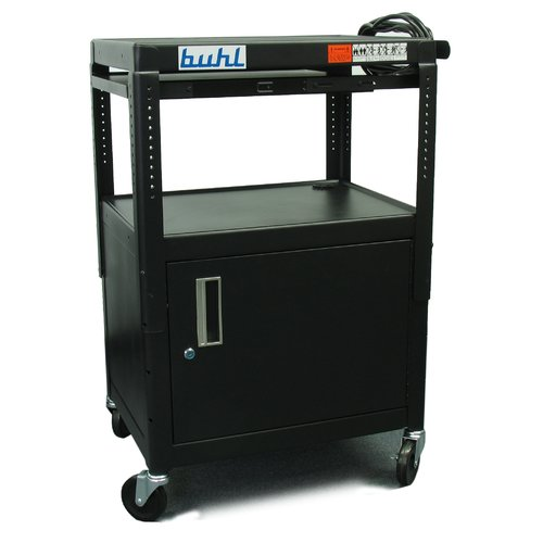 Hamilton Buhl Height adjustable AV Cart with Security Cabinet