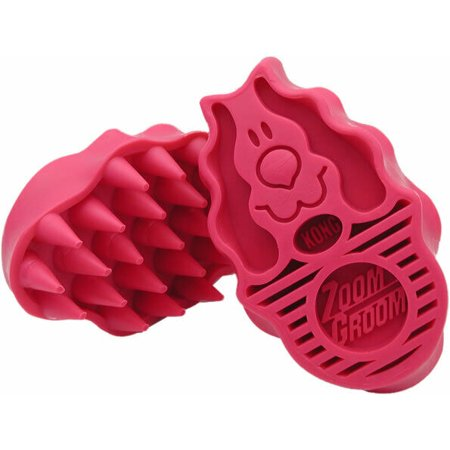 Dog Rubber Curry Brushes Pet Grooming Collect Hair Wet Dry Coat Massager Bathing (Large - Pink)