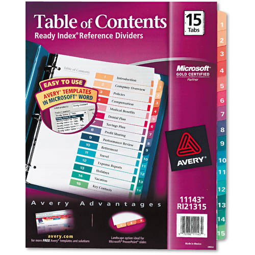 (2 Pack) Avery Ready Index Customizable Table of Contents Dividers, Multicolor, 15 Count