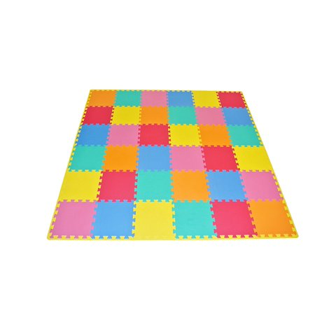 "ProSource Kids Foam Puzzle Floor Play Mat with Solid Colors, 36 Tiles (12""x12"") and 24 Borders ()"