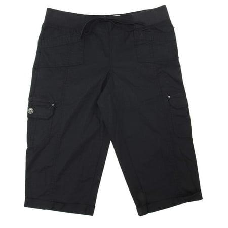 - One 5 One Womens Size 2X-Large Cargo Capri Pants w/Drawstring Waist, Black