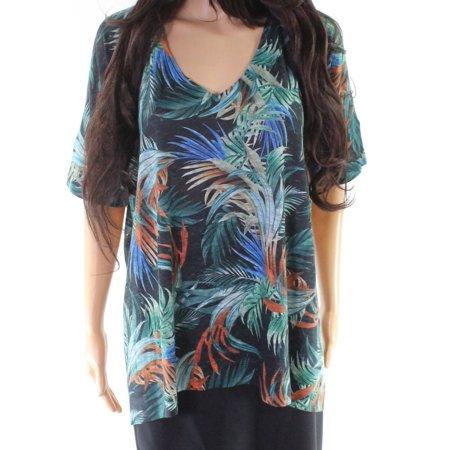 Multi Women's Leaf Print V-Neck Top XL
