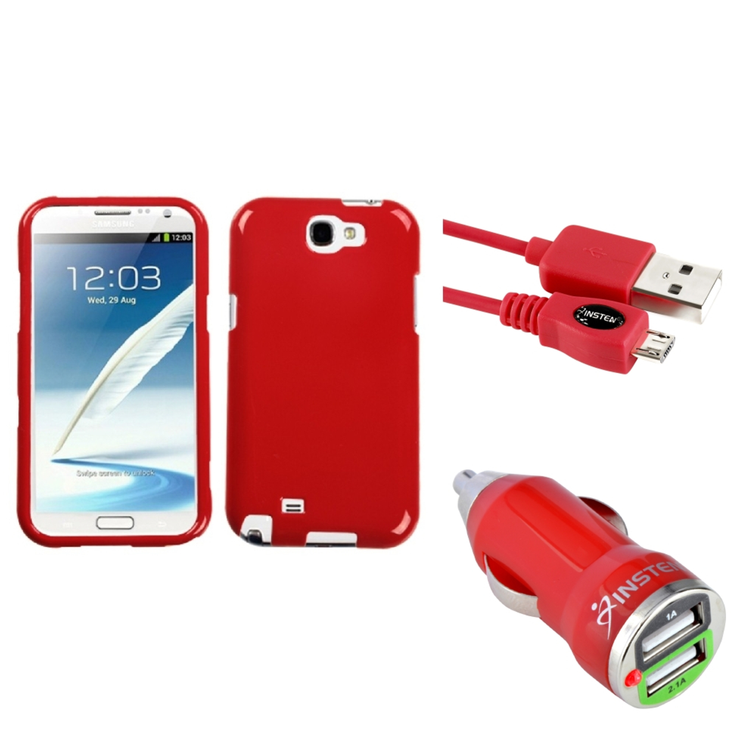 Insten Flaming Red Hard Case 3FT Cable Dual USB Charger For Samsung Galaxy Note 2 II