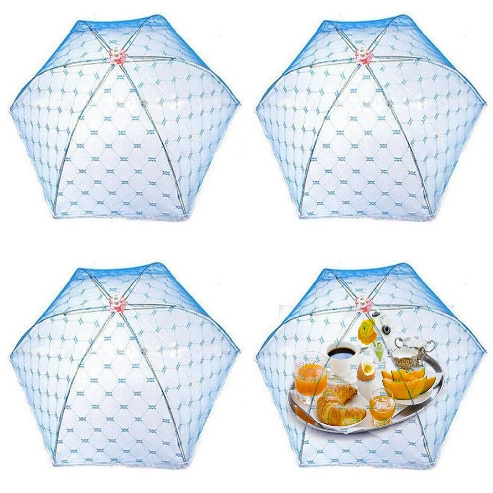 Coolmade (4 Pack) Pop –Up Mesh Screen Food Cover Tent Umbrella, Reusable and Collasible Outdoor Picnic Food Covers Mesh, Screen Tents Protectors For Bugs, Fruit From Flies, BBQ