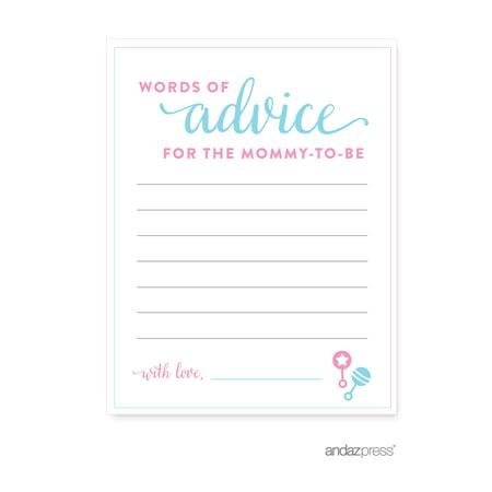 Advice Cards  Team Pink/Blue Gender Reveal Baby Shower Games , 20-Pack