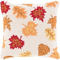 """18"""" Cream Brown and Autumn Red Leaves Dropping Decorative Throw Pillow - Poly Filled"""