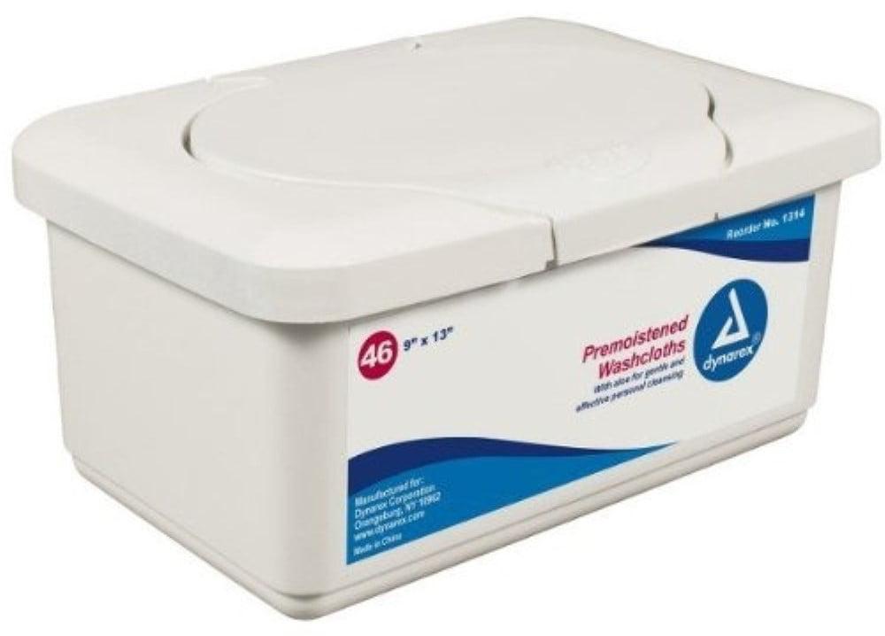 3 Pack Dynarex Pre-Moistened Wet Disposable Washcloths Standard Tub 9X13 46 Each